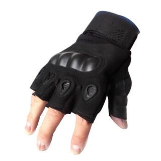 YERENBULUO 野人部落 YRBL 战术半指手套 格斗户外登山特种兵手套运动战术手套 军迷用品 黑色升级款