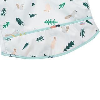 babycare儿童罩衣 宝宝吃饭罩衣防水防溅 幼儿长袖围兜反穿衣 5206纳克里森林