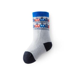 全棉时代 男幼童两双装条纹袜9.5cm(建议3-12个月) 蓝灰+灰色2双装