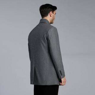 K-BOXING 劲霸男装 男士毛呢大衣精纺毛料一衣两穿外套 HFWJ4132