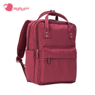 momogirl 茉茉桃 双肩包女休闲旅行背包时尚潮流双肩包M5944深红