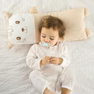 宜贝儿(ebenz)宝宝婴儿枕头杜邦舒弹棉安睡枕 卡通儿童加长定型枕 (猫咪)(枕芯可以水洗)