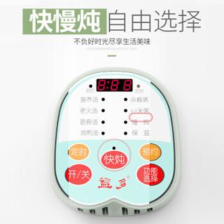 益多 家用电炖锅 电砂锅微电脑控制可预约 煲汤煮粥锅多功能快炖慢炖锅 迷你2L SLT-D25