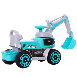 dodoto儿童电动车挖掘机可充电大号音乐男孩挖土机可坐人玩具车可骑可滑行电动推土机铲车工程车蓝色CL-1000T