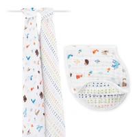 aden+anais 多功能襁褓包巾礼盒套装 2条包被+1口水巾  +凑单品