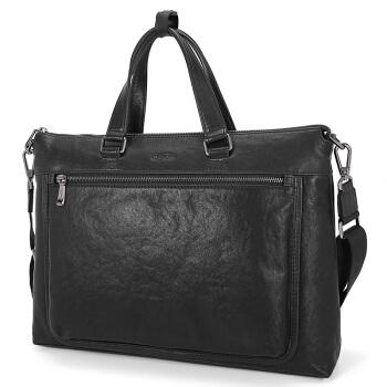 goldlion 金利来 公文包头层牛皮商务手提包时尚横款大容量休闲男包  FA183005-111 黑色