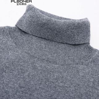 宝利博纳 2018新款纯山羊绒衫男加厚高领毛衣男韩版针织衫男 PL17520 黑色 175/L