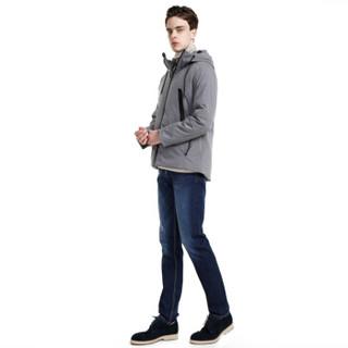 J.ZAO 男士羽绒服白鹅绒休闲帽防风户外短款保暖羽绒服 羽绒外套 黑色 XL