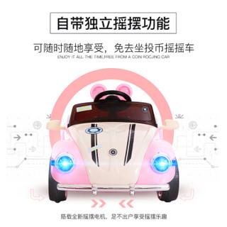魔力小虫(MAnA)儿童电动车遥控玩具汽车宝宝童车四轮可坐人跑车(顶配+蓝牙遥控+音乐早教+摇摆)公主粉