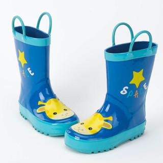 kk树 kocotree 儿童雨鞋 男童女童卡通防滑雨靴橡胶中筒小孩水鞋宝宝雨鞋 KQ15284 深蓝色 34