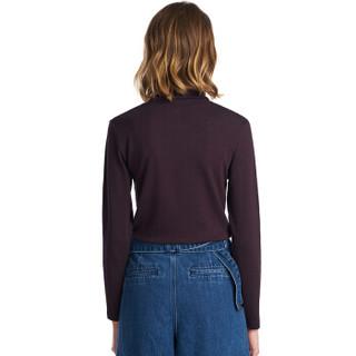 三枪打底衫女 情侣爽滑密棉两翻领可外穿高领长袖女衫 紫咖 L