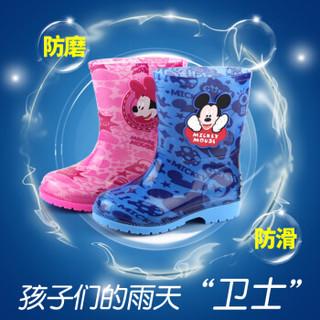 迪士尼儿童雨鞋雨靴秋冬款宝宝加绒防滑保暖水鞋男童女童小孩胶鞋 14760-宝蓝 26