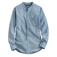 lativ 诚衣 牛仔立领长袖衬衫-男 (浅蓝)