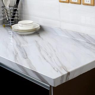 富居仿大理石纹墙贴纸瓷砖贴 防水防油PVC厨房贴橱柜台面柜门家具翻新贴0.6*5米爵士白
