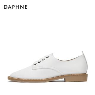 DAPHNE 达芙妮 牛皮系带低帮粗跟单鞋女 1018101034白色39