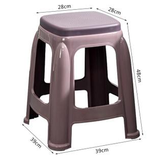 华恺之星 塑料凳子 家用休闲餐椅子板凳 方凳-灰色