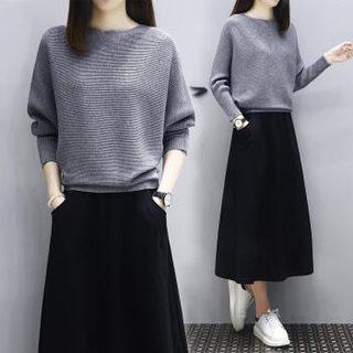 AUDDE 2019春季新款女装新品连衣裙女时尚针织毛衣套装休闲宽松大码两件套卫衣长裙 zx20184 黑灰色 XL