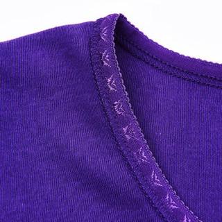 Double Umbrella 双伞 DU8002 双伞棉毛舒柔秋衣秋裤男女套装薄款内衣套装 深紫 XL
