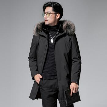 Mexican 稻草人 新款水貂毛皮中长款大衣男装大毛领保暖外套 18224DCMELT7160