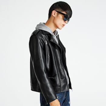 CABBEEN 卡宾 男装青年修身机车pu皮夹克领外套C休闲上衣潮流街头翻 3183138506