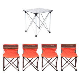 喜马拉雅 铝合金折叠桌便携烧烤桌子 家用野餐桌椅野营桌露营宣传展业桌套装 (小号铝桌家漫5件套)