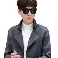 Miiow 猫人 男士休闲时尚立领纯色中长款大衣外套 401-F507
