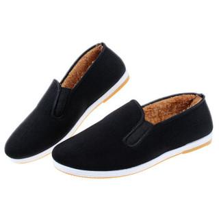 维致 传统老北京布鞋 男士加绒保暖休闲松紧口相巾 WZ1014 黑色 42