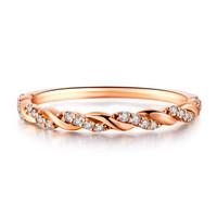 鸣钻国际 缠绵 玫瑰18k金钻戒女时尚钻石戒指女款排戒结婚求婚女戒 钻石对戒女款 9号