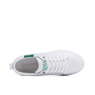 Semir 森马 韩版潮流时尚简约厚底内增高舒适户外休闲小白鞋女 128312348 白绿色 37码