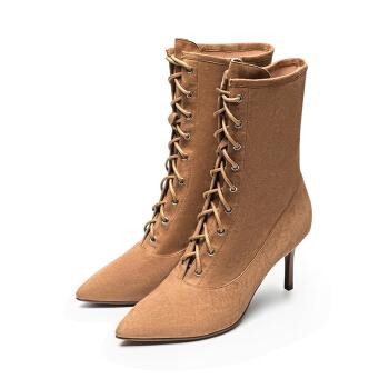 le saunda 莱尔斯丹 LS 9T67002 时尚优雅尖头系带侧拉链高跟女马丁靴 驼色 36