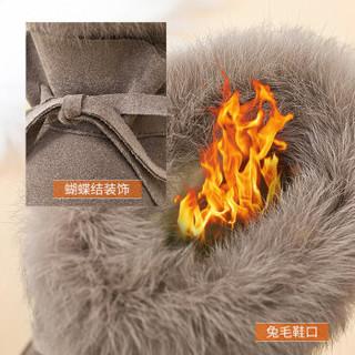 ZGR 雪地靴女短筒潮韩版学生百搭平底保暖厚棉鞋 8949 蘑菇色 37