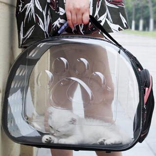 派乐特 猫包宠物便携猫背包外出猫笼太空舱小型犬双肩包透明太空包宠物包 透明宠物包 黑色-大号
