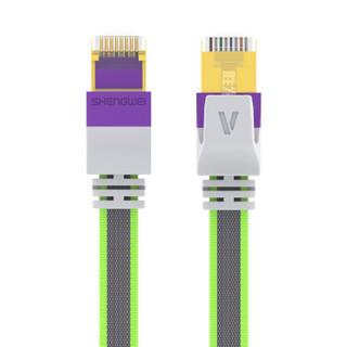 胜为(shengwei)七类网线屏蔽线 万兆工程级CAT7类纯铜网络跳线 电脑家用成品线3米 编织款紫色 FLC-8030F