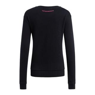 EMPORIO ARMANI 阿玛尼奢侈品女士简约圆领贴片印花休闲针织衫 6Z2M6X-2J4SZ BLACK-0999 42