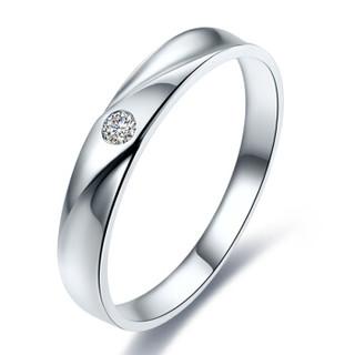 鸣钻国际 邂逅 钻石对戒 白18k金钻戒 结婚求婚戒指 情侣款