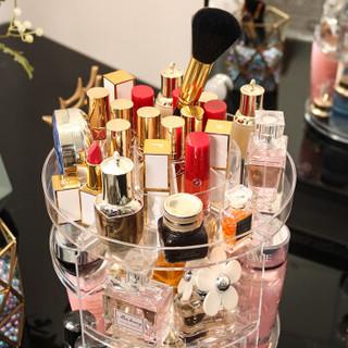 洁比世 透明亚克力旋转化妆盒子化妆品收纳盒大号 三层