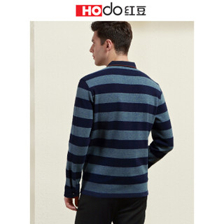 红豆 Hodo 男装 长袖T恤男简约商务系列针织翻领条纹长袖T恤 G1绿色 175/92A