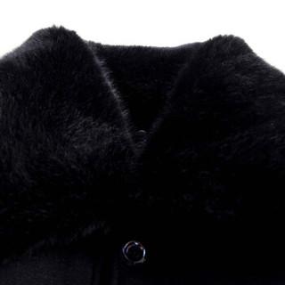 富贵鸟中老年人棉衣男装男士棉服单排扣外套冬季保暖冬装棉袄上衣 黑色 175/94A
