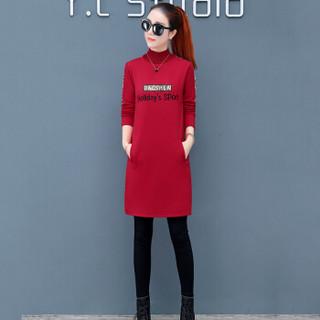 凡淑 2018冬季新品女装加绒加厚打底衫半高领长袖修身中长款T恤外穿内搭 HZ4083-2872FS 红色 2XL