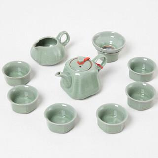 丹雅汝窑茶具套装 汝窑开片裂变釉茶具功夫茶杯套装 长青