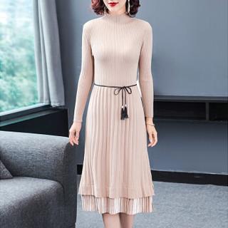 凡淑 冬季新品女装针织连衣裙半高领打底衫长袖修身毛衣裙中长款 FFMFS16821FS 黑色 L