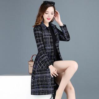 欧偲麦 女士风衣女中长款韩版风衣外套女修身显瘦大衣女2018新款宽松 KSF-21560 蓝色 4XL