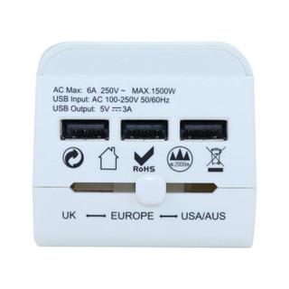 诺兰森迪NOLANSEND转换插头出国旅行插座转换器3USB英标美标欧标日本韩国泰国中国香港电源充电器NL016白色