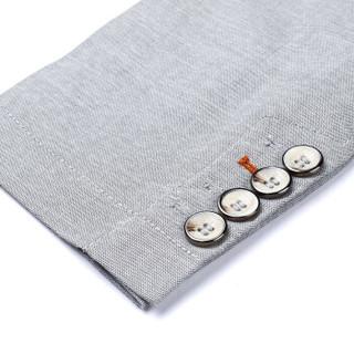 鳄鱼恤(CROCODILE)男休闲西服 2018年秋季新款时尚商务修身纯色型男正装外套 灰色 98591004 165
