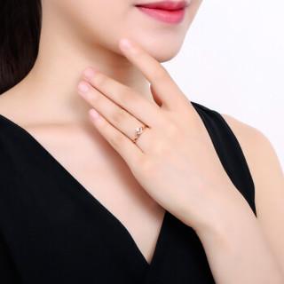 鸣钻国际 小皇冠 玫瑰18k金钻戒女尾戒 彩金钻石戒指结婚求婚女戒 情侣对戒女款