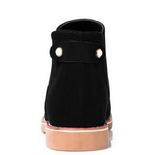 ARIOUULSS 阿偶 G751010007 短靴女平跟休闲潮流百搭时尚简约松紧带套脚 黑色 37