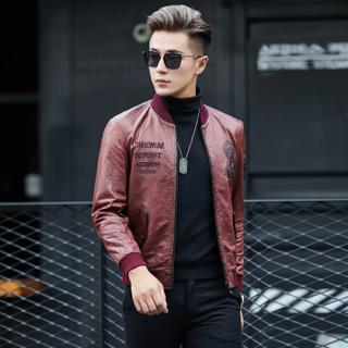 金盾(KIN DON)皮衣 男2018冬季新款皮夹克短款修身绵羊皮外套海宁男士皮衣 XH-1633M 红色 3XL
