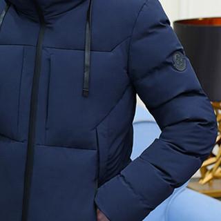 卡帝乐鳄鱼(CARTELO)2018秋冬新款男士时尚休闲纯色连帽保暖棉服外套1722蓝色XL