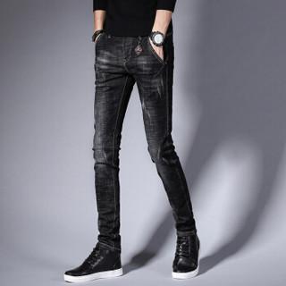 猫人(MiiOW)牛仔裤 男士潮流时尚青年休闲百搭弹力牛仔长裤子A329-362黑灰色36