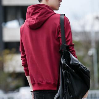 花花公子(PLAYBOY)卫衣男士2018秋冬装新款韩版潮流连帽套头修身外套 红色(加绒) M